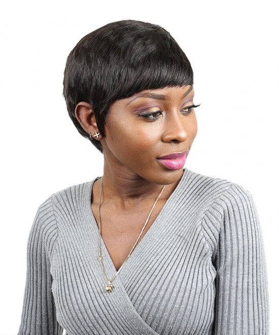 Dolago Short Human Hair Bob Wig Brazilian Wavy None Lace Human Hair Wigs 6 Inches