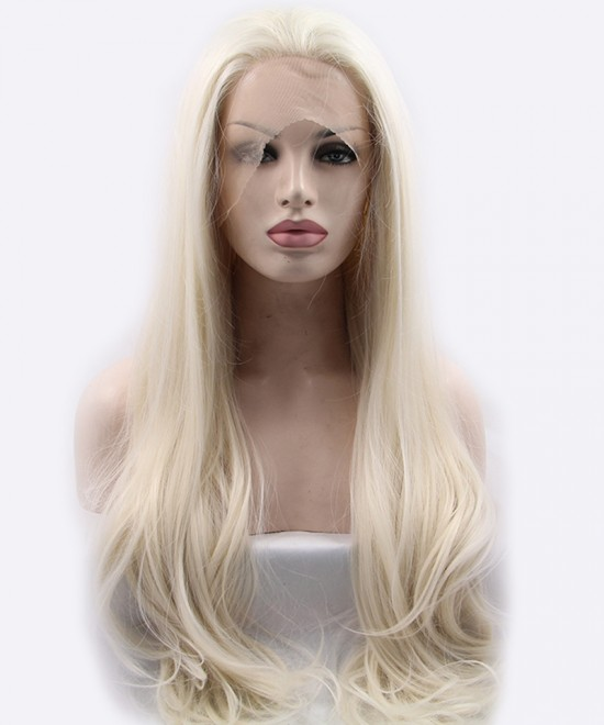 Dolago Light Blonde Straight Synthetic Wig Lace Front Wig