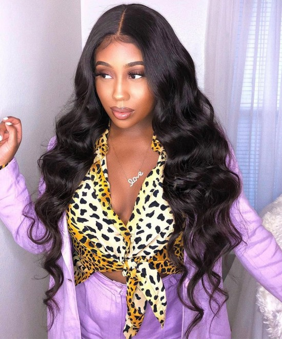 Dolago Hair Wigs Body Wave 370 Lace Frontal Wig Pre Plucked With Baby Hair Brazilian Lace Front Human Virgin Hair Wigs With Baby Hair Pre Plucked