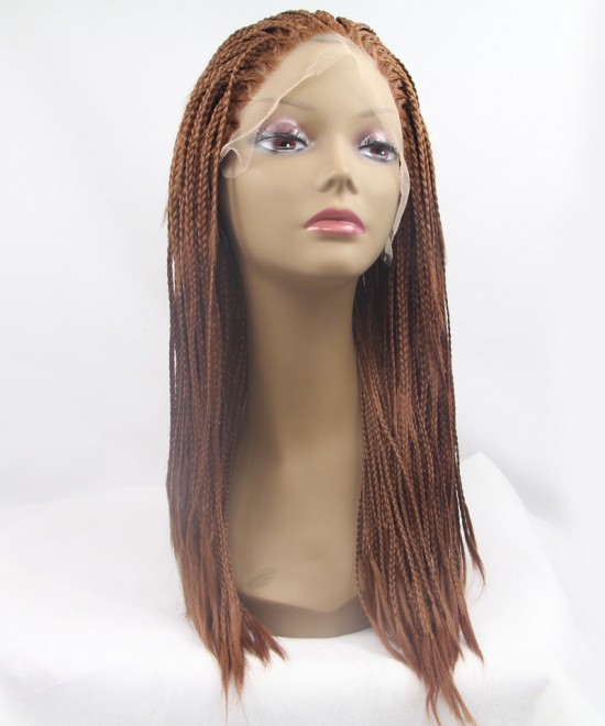 Brown Color Braided Synthetic Lace Front Wig