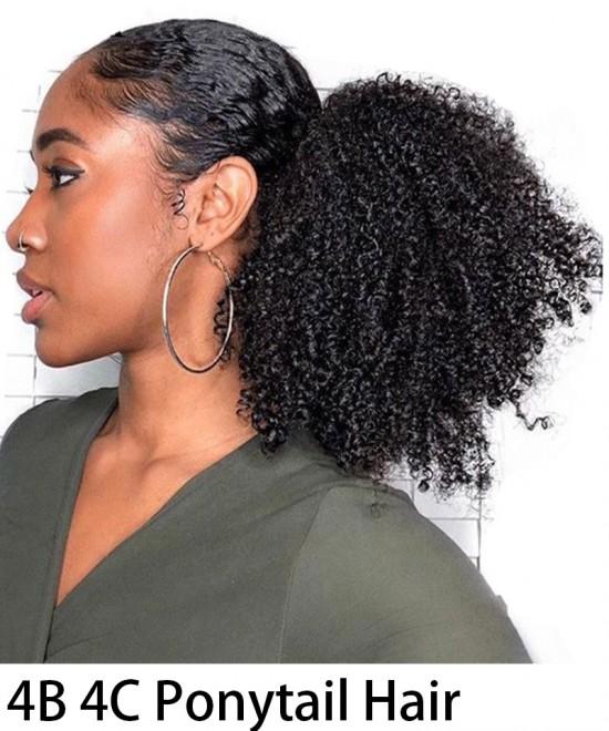 Afro Kinky Curly Ponytail Human Hair Magic Horsetail Wrap