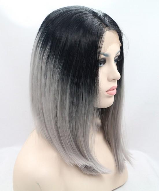 Dolago 1B/Grey Ombre Wig Short Bob Wig Synthetic Wig