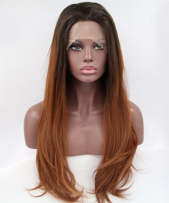 Dolago Lace Front Wig 1B/Brown Ombre Wig Straight Synthetic Wig