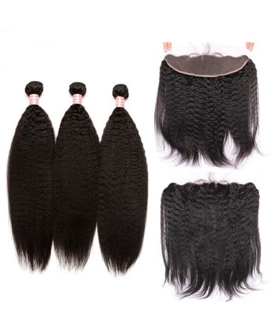 Dolago Kinky Straight 13x4 Lace Frontal with 3 Bundles Natural Color 100% Human Hair Weave