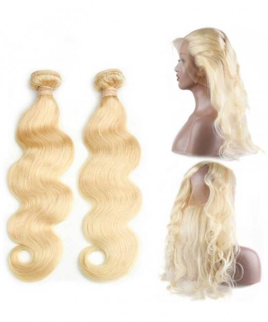 Dolago 613 Blonde Color 2 Bundles with 360 Lace Frontal Body Wave