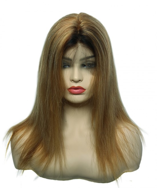 Dolago Colorful Wig Straight Full Lace Human Hair Wig 130% Density 1B/27#