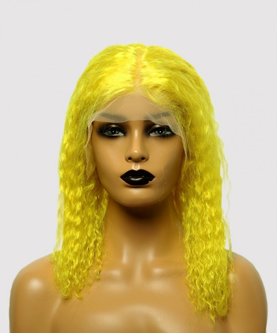 Dolago Colorful Wig Curly Bob Lace Front Wigs Pre-Plucked 130% Density Light Yellow For Black Women