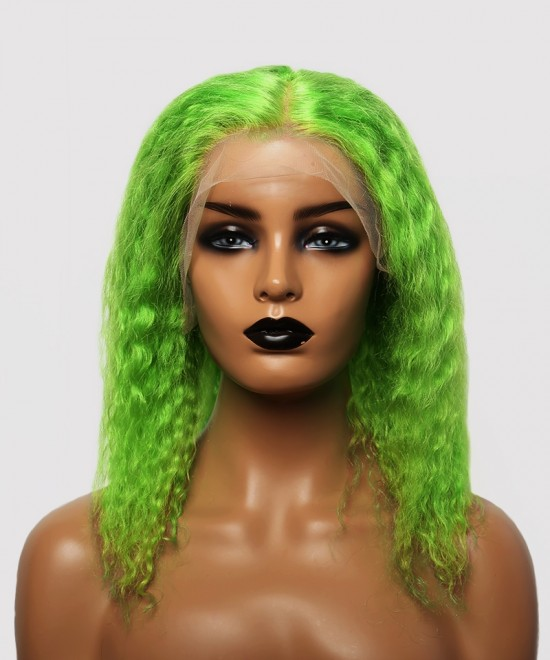Dolago Colorful Wig Curly Bob Lace Front Wigs Pre-Plucked 130% Density Light Green