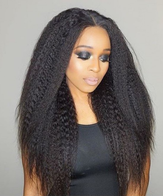 Dolago Hair Wigs Kinky Straight 360 Lace Frontal Human Hair Wigs For Black Women 150% Density Lace Front Human Hair Wigs With Baby Hair Pre Plucked