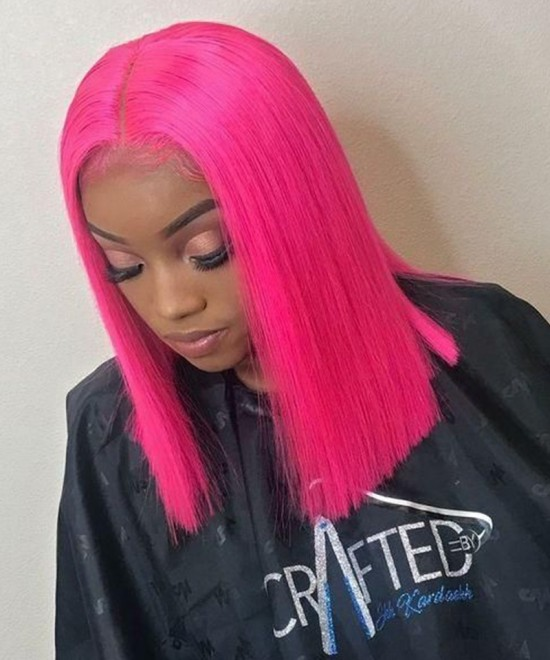 Dolago Colorful Wig Straight Bob Lace Front Wigs Pre-Plucked 130% Density Bright Pink With Baby Hair For Black Women