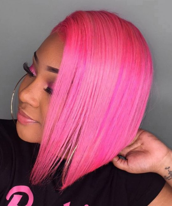 Colored Pink Human Hair Lace Front Wigs For Women