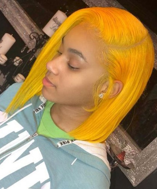 Yellow Colored Human Hair Wigs For Sale