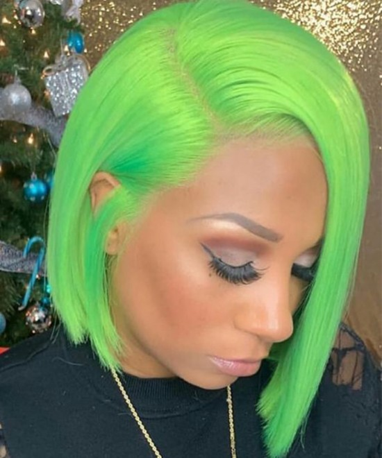 Dolago Colorful Wig Straight Bob Lace Front Wigs Pre-Plucked 130% Density Light Green