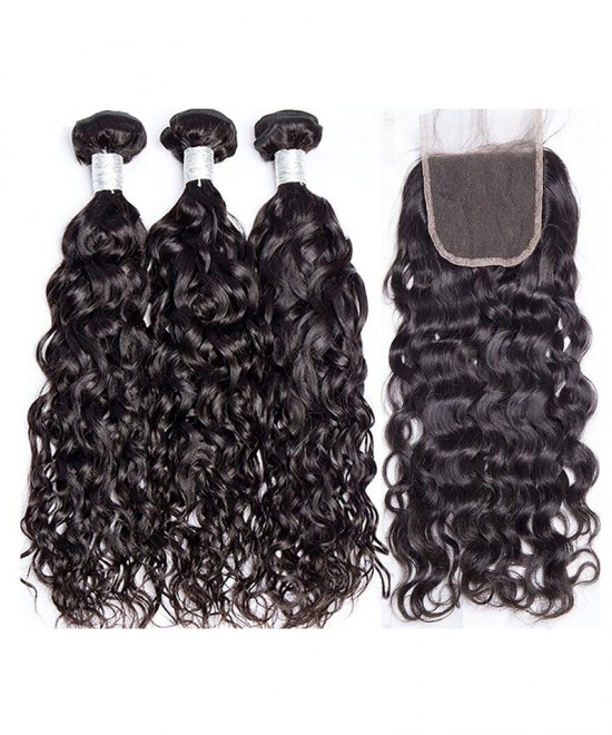 Dolago Human Hair Bundles With Closure Water Wave Lace Frontal with 3 Bundles