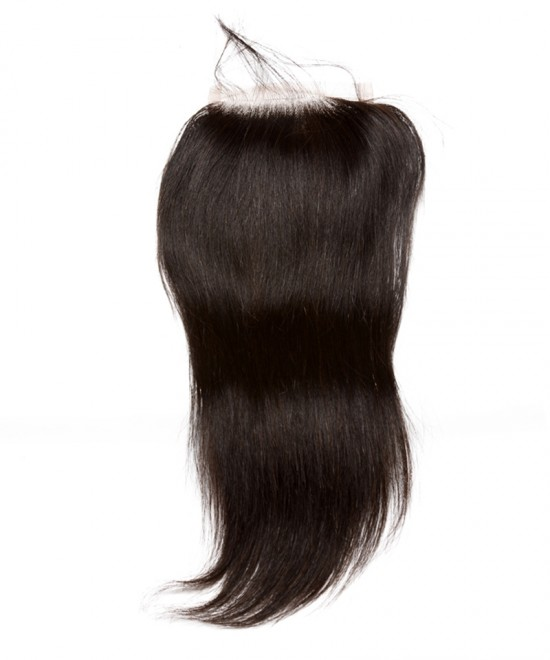 Dolago Brazilian Virgin Human Hair Straight 4x4 Free Part Silk Base Closure