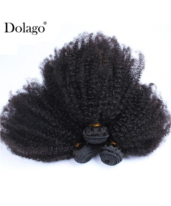 Dolago Brazilian Virgin Hair Bundles Afro Kinky Curly Human Hair Extensions 3 Pcs Brazilian Hair Weave Bundles 10-30 Inches Curly Hair Weave Bundles Sales