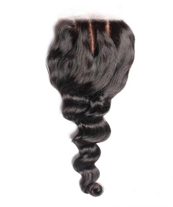 Dolago Brazilian Loose Wave Virgin Hair 4x4 Medium Brown Silk Base Lace Closure