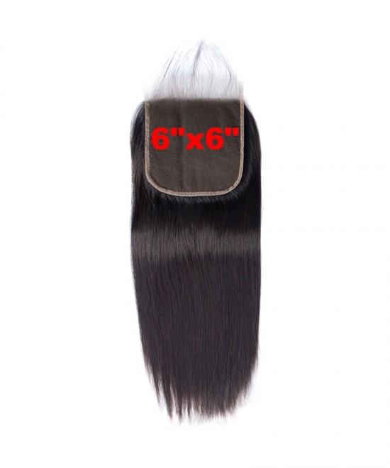 Dolago Brazilian Virgin Hair Straight Human Hair Lace Closure 6x6 Lace Size