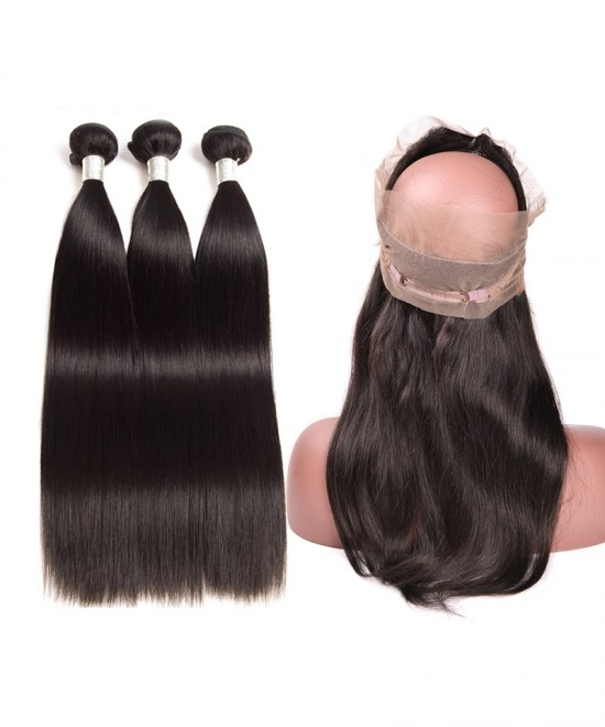 Dolago Brazilian Virgin Hair Straight 360 Lace Frontal Closure With 3 Bundles