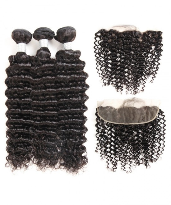 Dolago 13x4 Lace Frontal with 3 Bundles Free Part Brazilian Virgin Human Hair Weaves Deep Wave