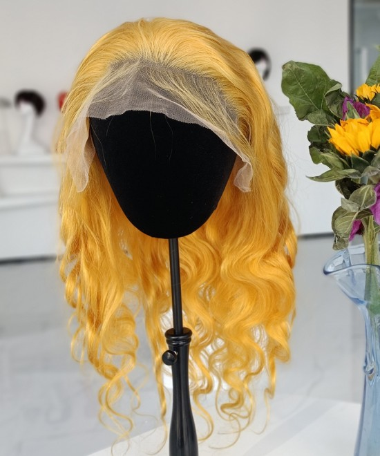 Body Wave Yellow Blonde Lace Wigs For Black Women