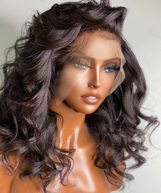 Quality cheap invisible lace front human hair wigs body wave