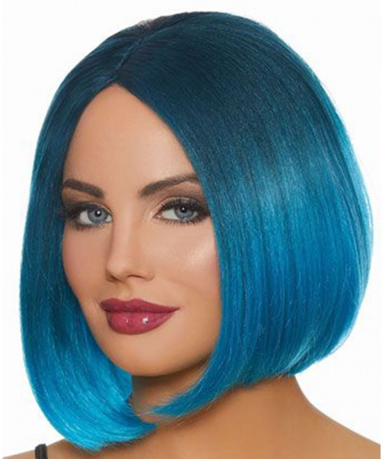 Dolago Colorful Wig Straight Bob Lace Front Wigs Pre-Plucked 130% Density Bright Blue