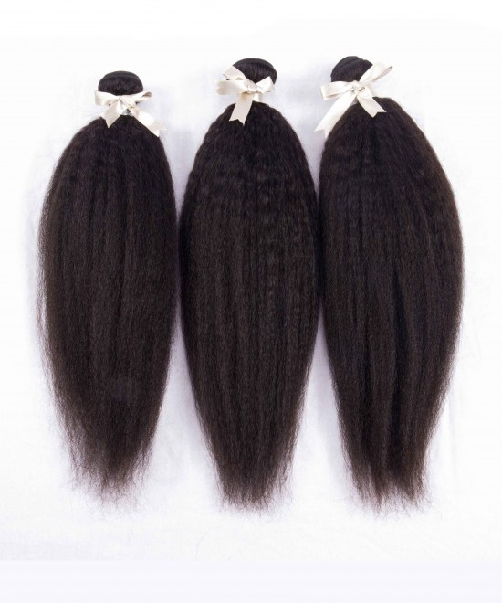 Dolago Peruvian Virgin Hair Kinky Straight 100% Human Virgin Hair Weave 3 Bundles