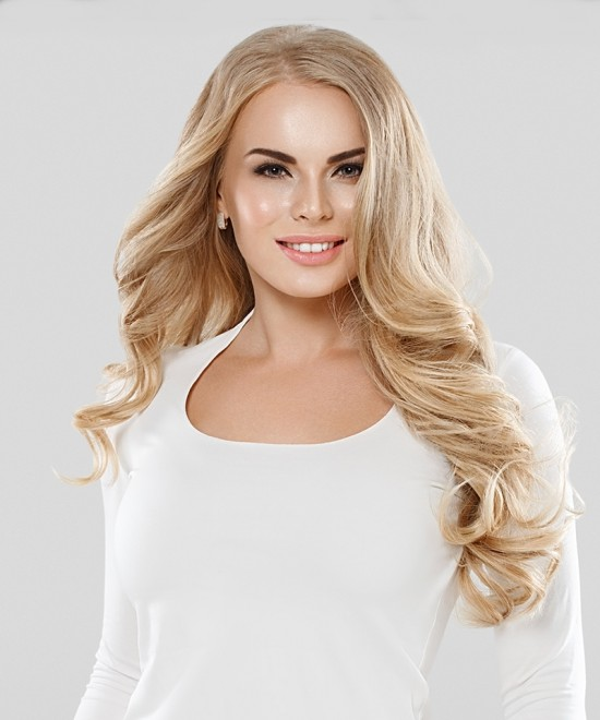 Dolago Remy Clip in Human Hair Extensions Ash Blonde #24 120g 7pcs