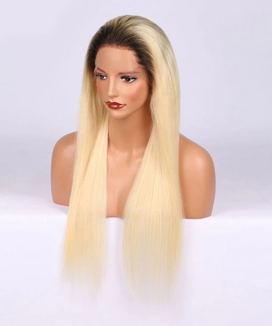 two tone ombre 1B/613 blonde wig human hair