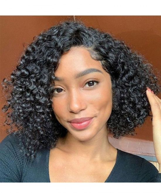 Curly Human Hair Wig For Black Women Pre Plucked