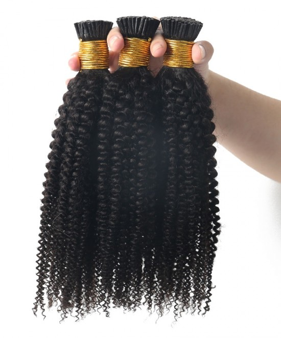 4A 4C kinky curly High quality i tip human hair extensions sales