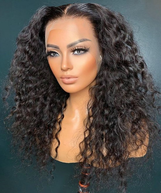 Loose curly hd transparent lace front human hair wigs for sale