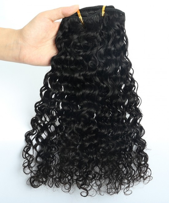 Dolago Deep Curly Clip in Human Hair Extensions 120g/7pcs For One Set Brazilian Curly Clip Ins Hair Extensions For Women Natural Color