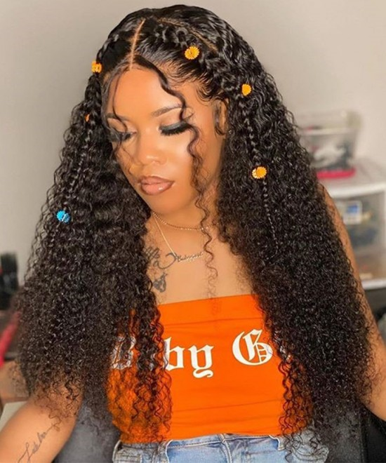 Dolago Hair Wigs Kinky Curly Lace Front Human Hair Wigs With Baby Hair Pre Plucked 130% Density Brazilian Kinky Curly Lace Front Wig For Black Women