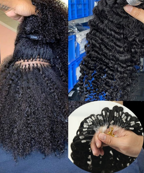3B 3C Kinky Curly Nano Ring Human Hair Extensions For Sale