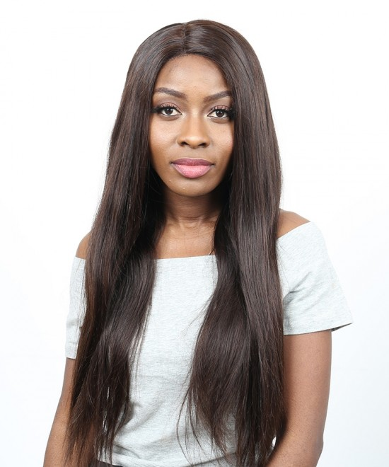 Dolago 250% Density Straight Lace Front Human Hair Wigs With Baby Hair #2 Color Brazilian Remy Hair Bleached Knots