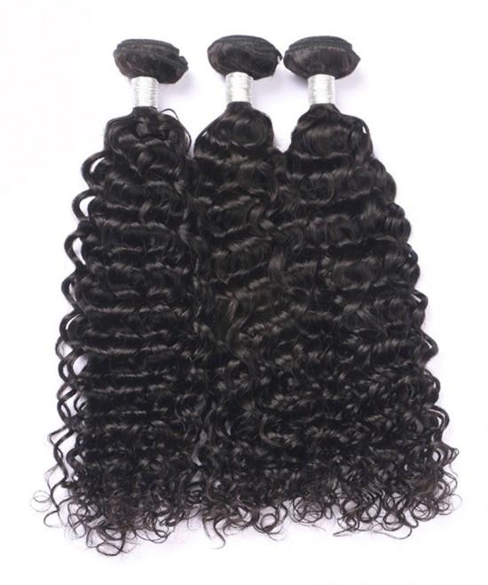 Dolago Peruvian Virgin Hair Natural Black Deep Curly Double Weft Human Hair 3 Bundles
