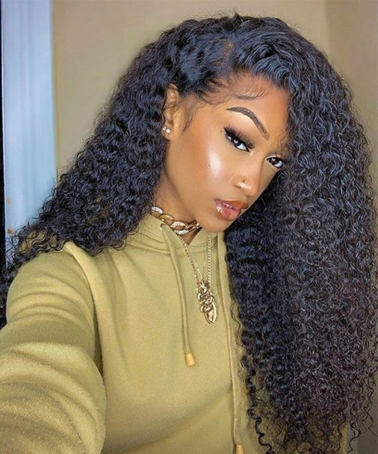 Dolago deep curly T part lace wigs with baby hair pre-plucked 10-26 inches human hair lace front wigs for black women accepting customized left and right parting