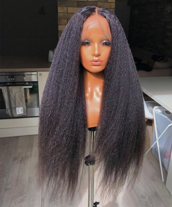 Dolago Kinky Straight 370 Lace Front Wig Pre Plucked With Baby Hair 370 Lace Frontal Human Wigs For Black Women