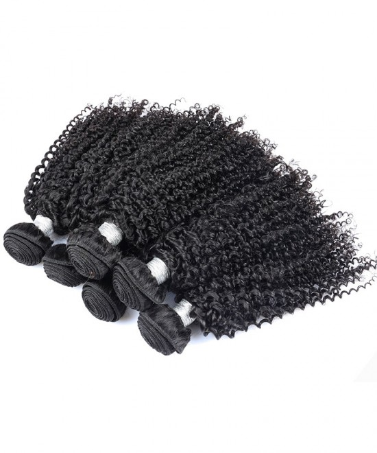 Dolago 1 Bundle 100% Human Hair Weaving Kinky Curly Hair Weft Natural Color