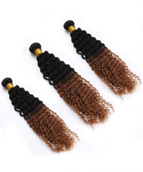 Dolago Ombre Human Hair Bundles 3 Pcs Afro Kinky Curly Hair Bundles 1B/30