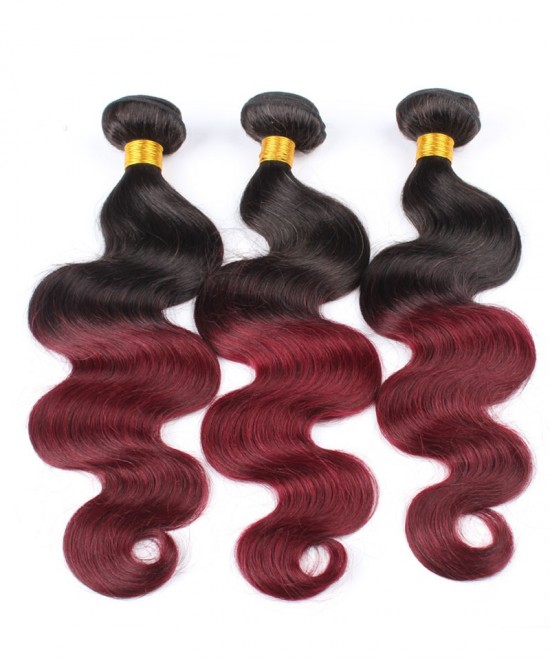 Dolago Brazilian Virgin Hair 3 Pcs Ombre Weave Bundles 1B/99J Burgundy Brazilian Hair