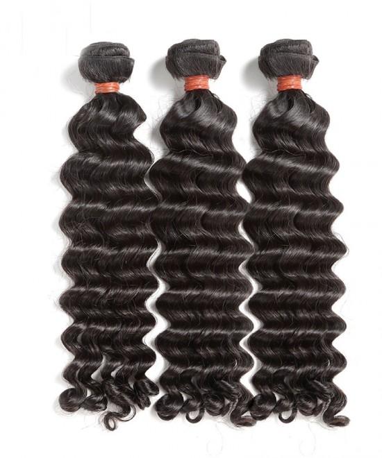 Dolago Peruvian Remy Human Hair Extensions Deep Wave 3Pics Peruvian Human Hair Weave Bundles Sale 10-30 Inches Malaysian Bundles Natural Color