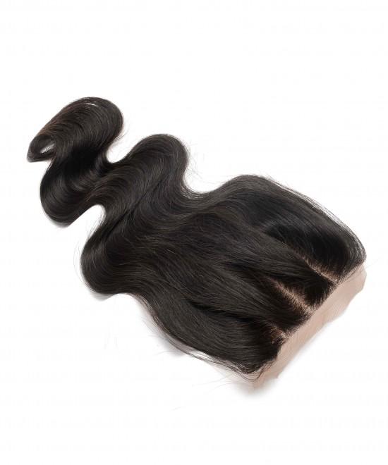 Dolago Brazilian Body Wave Human Hair  4x4 Medium Brown Silk Base Lace Closure