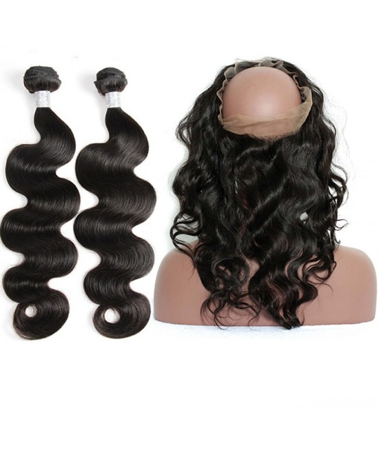 Dolago Body Wave 360 Lace Frontal Closure With 2 Bundles Natural Color