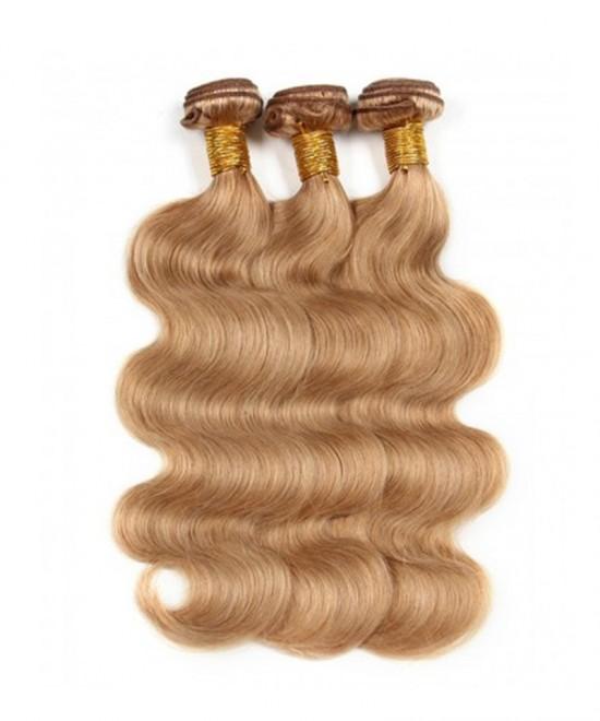 Dolago Colorful Body Wave Human Virgin Hair Extensions 3 Pcs Color #27 Brazilian Virgin Hair 100% Unprocessed Human Hair Weave