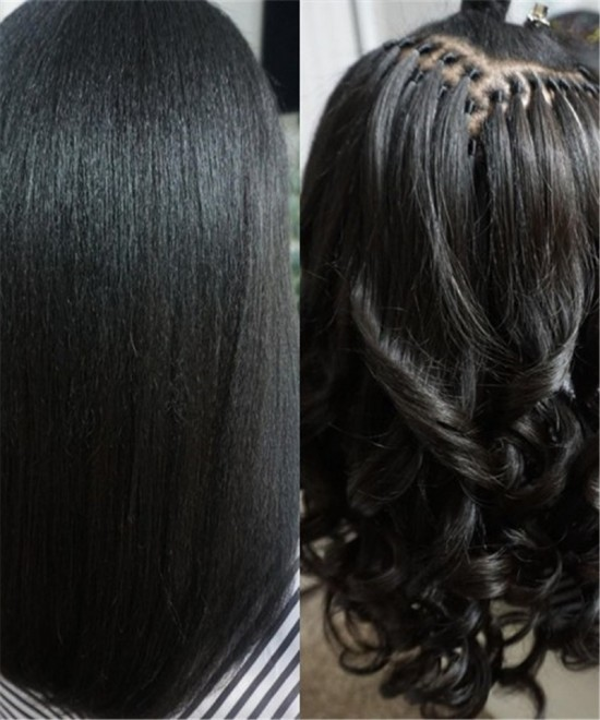 Hot Brazilian Yaki Straight I Tip Hair Extensions Natural Looking