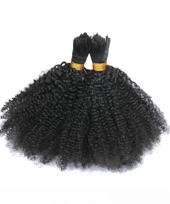 Human Braiding Hair Bulk No Attachment Mongolian Afro Kinky Curly Crochet Braids 2 Bulks