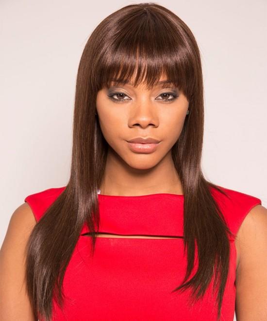 Color 2 Pixie Human Hair Wigs Short None Lace Cut Bob Wigs